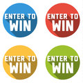 Collection of 4 flat colorful buttons with ENTER TO WIN text