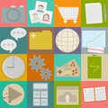 Collection of flat icons on different backgrounds Stock Photography