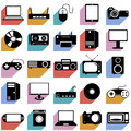 Collection flat icons with long shadow. Eectronic Stock Photography