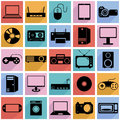 Collection flat icons with long shadow. Eectronic Royalty Free Stock Image