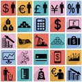 Collection flat icons with long shadow. Finance Stock Photography