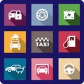 Collection of flat transport icons or automotive with cars locking wheel battery car wash taxi fuel pump shopping garage and a Royalty Free Stock Photography