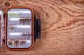 Collection of flies for fly fishing Royalty Free Stock Photography