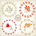 Collection floral frames. Royalty Free Stock Images