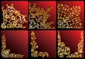 Collection florale d'or de coins Photo libre de droits