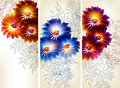 Collection of flower vector backgrounds Royalty Free Stock Image