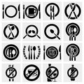 Collection of fork knife and spoon arranged in different ways vector icons set isolated on grey background eps file available Stock Photography
