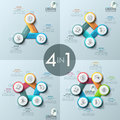 Collection of four creative infographic design layouts, diagrams with 3, 4, 5, 6 round numbered elements