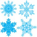 Collection of four elegance snowflakes Royalty Free Stock Images