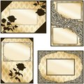 Collection of four elegant sepia labels Royalty Free Stock Image
