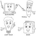 Collection four funny learning cartoon characters blackboard pencil light bulb book useful also educational colouring books kids Royalty Free Stock Images