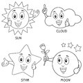 Collection four funny weather cartoon characters sun cloud star moon useful also educational colouring books kids Royalty Free Stock Images