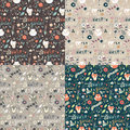 Collection of four seamless patterns with winter garden flowers, Royalty Free Stock Photo