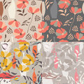 Collection of four vector seamless patterns with floral elements Royalty Free Stock Photo