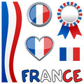 Collection of france or french patriotic elements including a vertical banner a badge or button a award ribbon a glossy heart and Royalty Free Stock Photography