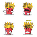 Collection of french fries cartoon character set