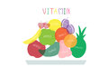 Collection of fresh healthy fruits,Healthy lifestyle,Vector Royalty Free Stock Photo
