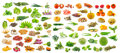 Collection of fruit and vegetables on white background isolated Royalty Free Stock Images