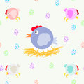 A collection of fun chickens and chicken moms on the nest. Multicolored eggs. Cool vector pattern.
