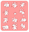 Collection of fun pink elephants Royalty Free Stock Photography