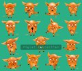 Collection of funny pigs with different emotions and in different poses isolated on background