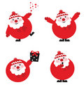 Collection of funny red Santa. Vector. Stock Image
