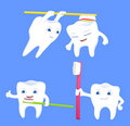 Collection of funny tooth cartoon characters Royalty Free Stock Images