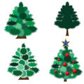 Collection of fur-trees Stock Photography