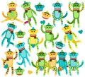 Collection of gender neutral sock monkey vectors and faces Stock Photography