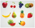 Collection of geometric polygonal fruits, triangles