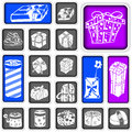 Collection of gifts a gift squared icons Stock Photo