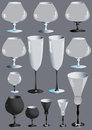 Collection of glass goblets for alcoholic beverage Stock Photos