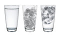 Collection of Glass with water and ice isolated on white, Clippi Royalty Free Stock Photo