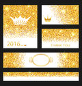 Collection of Gleam Cards. Decorative Golden Surfaces Royalty Free Stock Photo