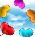 Collection glossy hearts balloons for valentine day in the blue illustration sky Stock Images