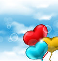 Collection glossy hearts balloons for valentine day in the blue illustration sky Stock Photos