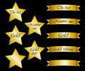 Collection of gold stars and ribbons with inscript Royalty Free Stock Photography