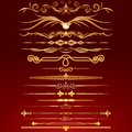Collection of golden rule lines vector design elements ornaments Royalty Free Stock Photos