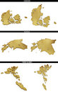 A collection of golden shapes from the european states european states denmark estonia faroe islands photo realistic isolated on Royalty Free Stock Photography