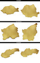 A collection of golden shapes from the european states romania san marino slovakia photo realistic isolated on white x px each Stock Images