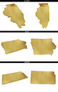 A collection of golden shapes from the us american states illinois iowa kansas photo realistic isolated on white x px each course Stock Photo
