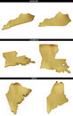 A collection of golden shapes from the us american states kentucky louisiana maine photo realistic isolated on white x px each Stock Photo