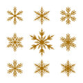 Collection of golden snowflakes vector icons Royalty Free Stock Image