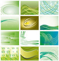 Collection of green backgrounds Stock Photos