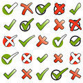 collection green checkmarks and red crosses Royalty Free Stock Photo