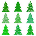 Collection of green fur trees in cartoon style on white background Royalty Free Stock Photo