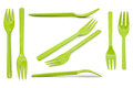 Collection green plastic forks isolated