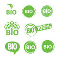 Collection green round icons bio Stock Images