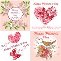 Collection Greeting Card Happy Mother`s Day. Postcard Mother`s Day with spring flowers, butterflies. Royalty Free Stock Photo