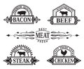Collection of grill labels five monochrome Royalty Free Stock Photography
